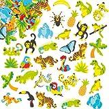 Aufkleber aus Moosgummi - Regenwald - Sticker Set zum Basteln für Kinder und als Dekoration - 100 Stück