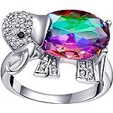 Uloveido Zirconi cubici Moda Animale Grande Arcobaleno Mistico Topazio Anelli di Cristallo Elefante Anello Regalo di Pasqua p