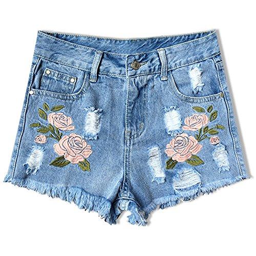 746aebb78e33a2 iBaste Jeanshose Shorts Damen High Waist Denim Shorts Kurze Hose Hotpants  damen Jeans Hose Blau