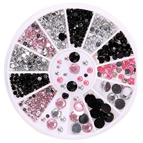 Nagel Art Diamonds Strassstein Bunte Glitter Strass UV Gel Acryl Glitter Eye Kristall Edelsteine 3D Nailart Rhinestones Kleber Charms Nail Art Dekoration Dazzling Tips Nail Sticker (Rosa)