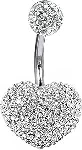 Swarovski Cristallo del cuore, Piercing per ombelico, 3d, fatto a mano, l' asta è in titanio gradi 23, spessore 1,6mm
