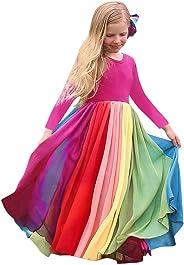 Baby Mädchen Bunt Maxi Tüll Kleider Regenbogen Maxikleid Festlich Fasching Party Maxirock Langarm Tutu Kleid Tütü Elegant Gir
