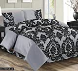 Super Luxury Damask Flock 4pcs Complete Bedding Sheet Set - 2 Pillow Cases/Valance Sheet/Quilt Cover - Silver Grey Black