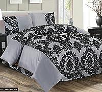 Super Luxury Damask Flock 4pcs Complete Bedding Sheet Set - 2 Pillow Cases/Valance Sheet/Quilt Cover - Silver Grey Black
