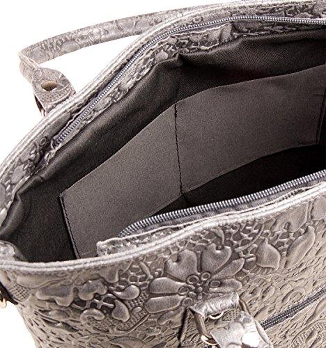 PELLE ITALY Leder Handtasche PI10093 Damen Shopper Tasche Echt Leder 35x27x13 cm (BxHxT), Farbe:Grün Cognac