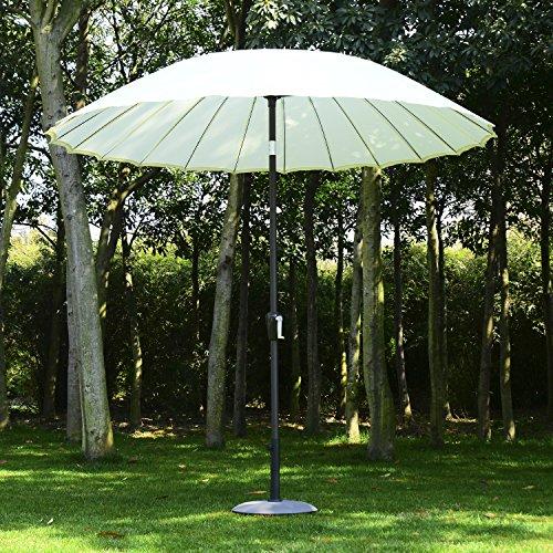 Sombrilla 2.5x2.45m Parasol Reclinable 24 Costillas Acero Terraza Jardin Camping