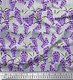Soimoi Blau Satin Seide Stoff Streifen & Lavendel