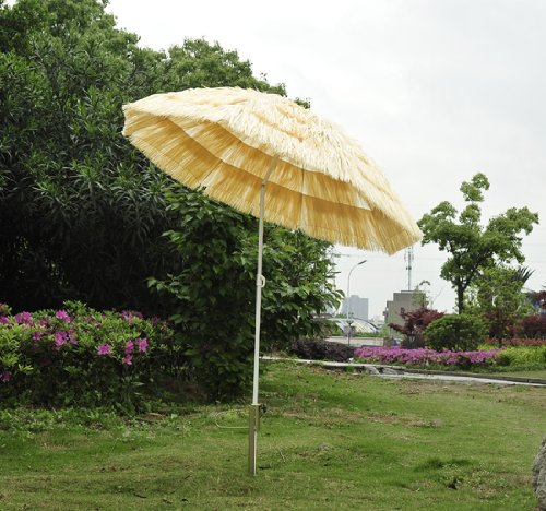 Outsunny Parasol de plage jardin design hawai 160cm raphia artificiel beige 25