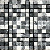 1 Netz Natursteinmosaik Schwarz Grau Weiß Mix Marmor Kalkstein