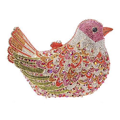 Bonjanvye Glitter Rhinestone Bird Clutch Purses Evening Clutch Bag for Girls Orange fuchsia