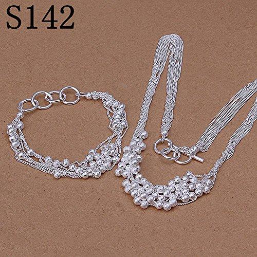 6-Zeilige Sand Perlen Armband Halskette Set von Einfachen Kugelförmigen Silbernen Anzug , Silber (Silberne Hochzeit Sand)