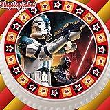 vorgeschnittenen Essbarer Zuckerguss Cake Topper, 19,1cm rund Star Wars Storm Trooper mit Star Bordüre