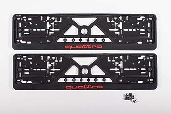 Kennzeichenhalter Auto (2 Stück) Nummernschildhalter Schwarz Quattro (EU Standard Grösse 52cm)