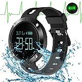 Fitness Tracker Wristband mit Herzfrequenz Monitor Blutdruck Monitor Smart Armband Aktivität Uhr HR BP BT 4,0 OLED 0,95 Zoll Touch Screen Band für iPhone Android Smart Phone (Schwarz)