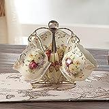 ufengke® 4 Stück kreative Europäische England Luxus Handgemalte Rot und Gold Blumen Elfenbein Porzellan Kaffee Set Teekanne Teeset Teeservice