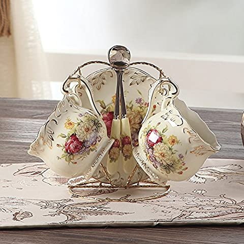 ufengke® 4 Pieces Creative European England Luxury Hand Painted Red And Gold Flower Ivory Porcelain Ceramic Coffee Set Tea Set Tea Service