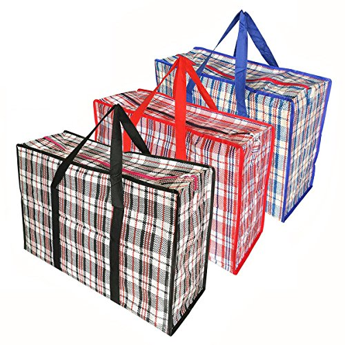 Groß Einkaufstaschen, Aufbewahrungstasche, Tragetasche Mit Handgriff für Bettzeug Matratzenauflagen Decken Bettdecken Kissen - 3 stück (King Leinen Schwarz)