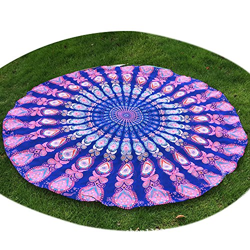 Sunroyal Mandala Toalla de Playa, Beach Towel ,Yoga, Redondo Multifunción Ligero Secado Rápido Playa Manta Playa Mat Esterilla de Yoga Meditación Decoración Tapiz Beach Travel Esencial,Hippie Hippy Style, Throw Bedding Bedspread, Wall Hanging, Indian Boho Cotton Tablecloth Beach Towel, Decorative Wall Hanging, Round Meditation Yoga Mat - Mandala -Púrpura