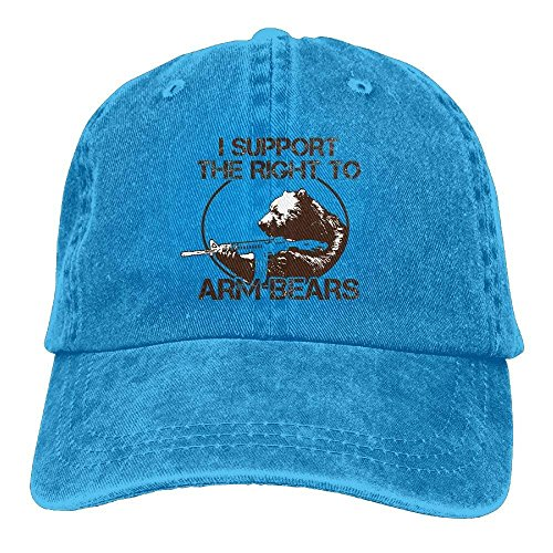 shengpeng I Support The Right to Arm Bears Denim Hat Men's Stretch Baseball Hat