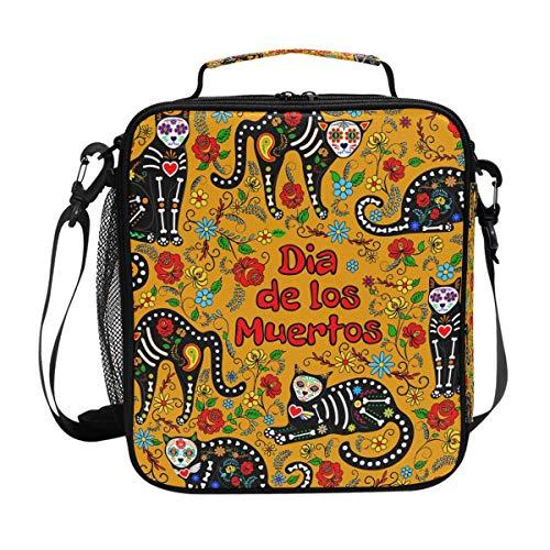 QMIN Lunchtasche, mexikanischer Sugar Skull Cat Zitat, Lunchbox mit Reißverschluss, isoliert, wiederverwendbar, mit Schultergurt für Mädchen Jungen Damen und Herren