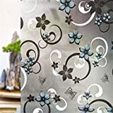Cvanu Privacy Window Film Printed Blue Flower Window Frosting Film Window Sticker,24''X100''