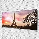 Impression sur toile de Tulup 125x50 cm - Tableau sur toile - Image - Photo panoramique - Architecture Tour Eiffel Paris