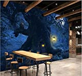 Wxlsl Benutzerdefinierte Wandbild Vlies 3D Tapete Moonlight Hintergrund Fantasy Wald Bäume Foto 3D Wandbilder Tapete-250Cmx175Cm