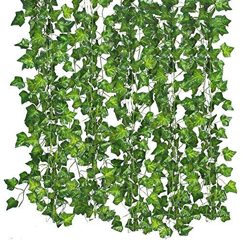 Eizur 12 Stück 86ft Künstliche Efeu Hängende Rebe Blätter Girlande Pflanzen Laub grüne Blätter Gefälschte Blumen für Hausgarten Büro Hochzeit Hof Wand Festival Dekorationen