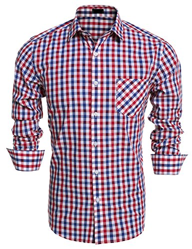 Burlady Herren Karohemd Slim Fit Hemd mit Karodessin für Business Hochzeit Oktoberfest Kariertes Freizeit Bügelleicht Blau L