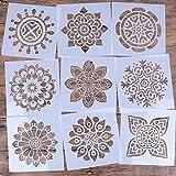 LOCOLO juego de 9 plantillas reutilizables de mandala (6 x 6 pulgadas), plantilla de pintura cortada con láser para decoración de bricolaje, pintura en madera, aerógrafo, rocas y paredes Ar Pattern 2