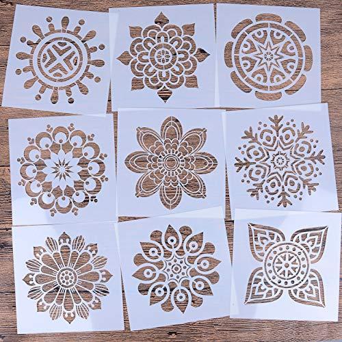 LOCOLO 2 Muster Mandala Wiederverwendbare Schablonen Set von 9 15,2 x 15,2 cm Malschablonen Laser Cut Malvorlage für DIY Dekor, Malen auf Holz, Airbrush, Felsen und Wände Kunst Pattern 2 beige