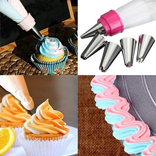 Bluelover 5 pezzi in acciaio inox ugelli doppio colore Icing Piping Bag Cake strumento decorazione