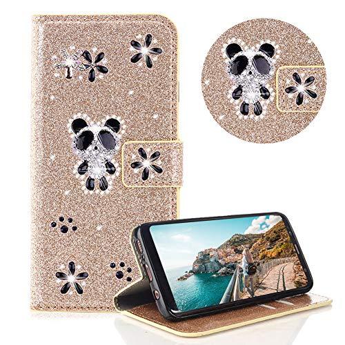 Glitzer Strass Brieftasche für Galaxy Note 8,Gold Leder Handyhülle für Galaxy Note 8,Moiky Luxus 3D Magnetisch Kristall Niedlich Panda Blumen Diamant Hülle mit Kartenfächer Ständer