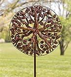 Wind & Wetter KA6914 Outdoor Baum des Lebens Metall Kinetische Skulptur Garten Windspinner, 24 Durchmesser x 10,25 D x 75 H Antikkupfer-Finish