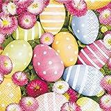 20 Servietten Easterflair bellis – Ostereier und Gänseblümchen / Ostern 33x33cm