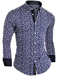 D&R Fashion Men's Slim Fit Shirt with Flower Pattern and Button-down Collar