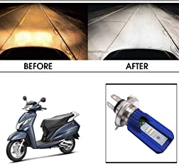 Vheelocityin Blue Cut Hi Low Beam H4 Bike Bulb Motorcycle LED Headlight Bulb For Honda Activa 125