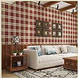 zyy Papier Peint Non-tissé Style Écossais Pastoral À Carreaux Salon Chambre 0.53 * 10m/Roll (Couleur : Red)