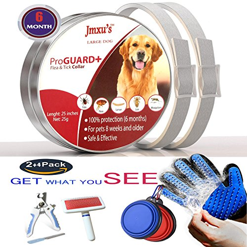 Lingyude floh und Zecke Kragen für großen Hund, 2Pack-ab 7 Wochen oder mehr als 16 lb 6 Monat Schutz, Hair Remover Handschuh Massage 1pack