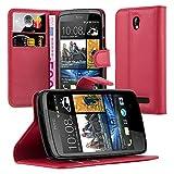 Cadorabo Hülle für HTC Desire 500 Hülle in Karmin Rot Handyhülle mit Kartenfach und Standfunktion Case Cover Schutzhülle Etui Tasche Book Klapp Style Karmin-Rot