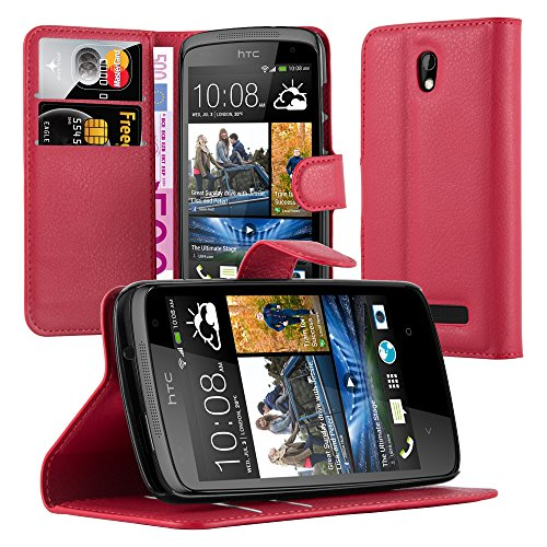 Cadorabo Hülle für HTC Desire 500 Hülle in Karmin Rot Handyhülle mit Kartenfach & Standfunktion Case Cover Schutzhülle Etui Tasche Book Klapp Style Karmin-Rot