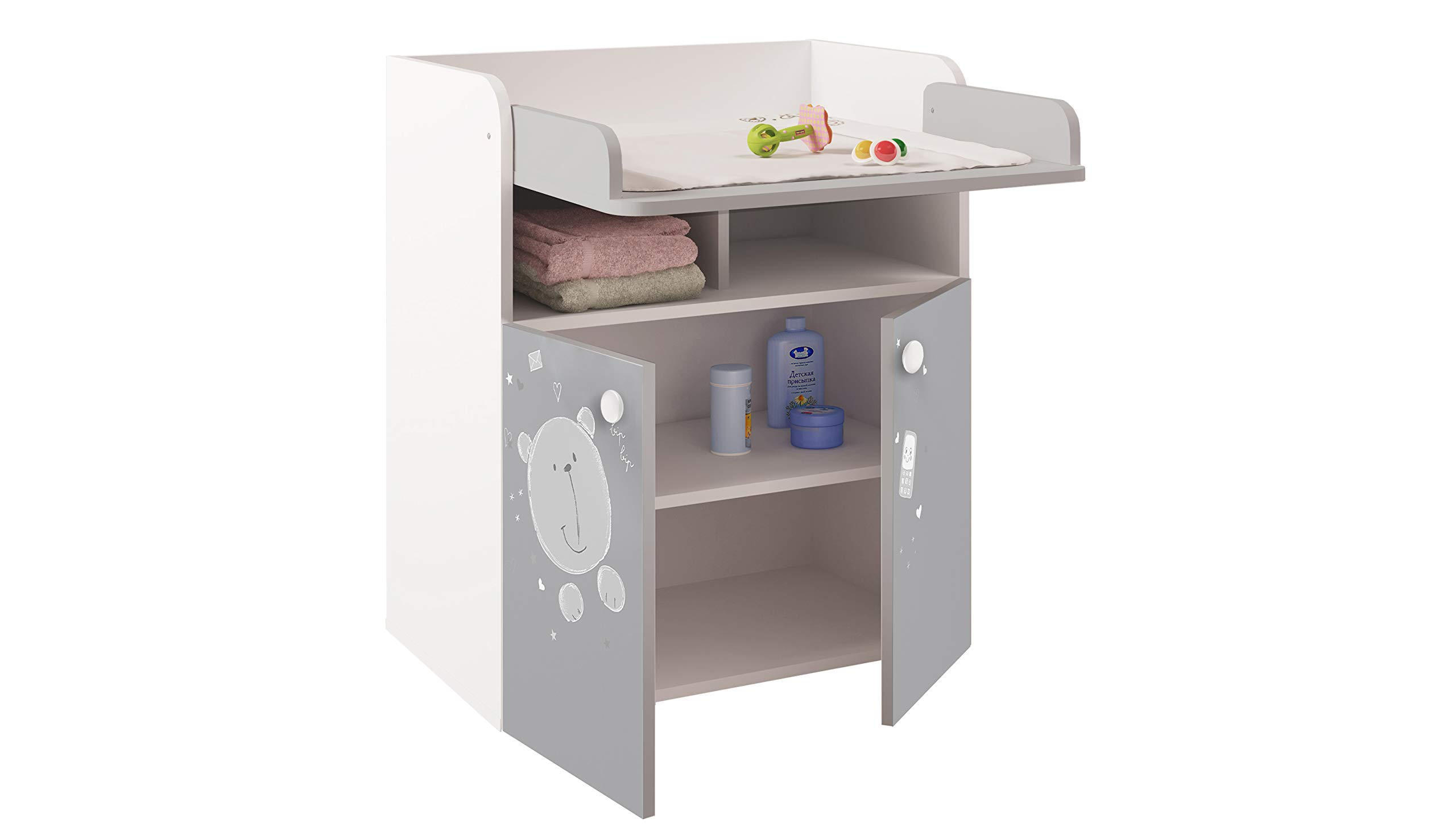 Polini French, Drawer Unit 1270, Teddy Print, White/Grey Kidsaw Dimensions (LxWxH): 47 x 70 x 86 cm French design Detachable changing mat leaves no marks on the dresser 3
