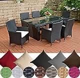 CLP Polyrattan Sitzgruppe AVIGNON (Tisch 180 x 90 cm + 6 x Polyrattan Stuhl Julia + Sitzauflagen), bis zu 7 Rattan-Farben + 5 Bezugsfarben wählbar Rattanfarbe: Schwarz, Bezugfarbe: Cremeweiß