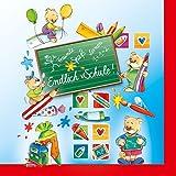 60 Servietten Schulanfang Set 03 - Endlich Schule - Servietten Einschulung -