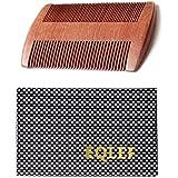 EQLEF ® Peine de madera Barba, Sándalo rojo sin peine hecho a mano estática (barba)