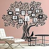 Grandora Wandtattoo Baum mit Ästen und Blättern I gelb (BxH) 142 x 130 cm I Wohnzimmer Schlafzimmer Sticker Aufkleber Wandaufkleber Wandsticker W5409