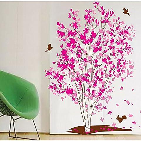 Bobin Arbre de fleurs Stickers muraux Papier peint Amovible PVC Stickers muraux pour mur et Plafond Décoration de maison, 23.6 X 35.4 Inches (Arbre à fleurs de cerisier)