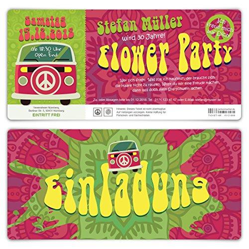 adungskarten Geburtstagseinladungen Einladung Eintrittskarten - 70er Jahre Flower Party Ticket ()