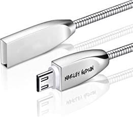 Marley Hudson Metal USB 3.0 Fast Charging Data Sync Cable Stainless Steel Spring Shield Cord for Android Devices (mhspringandrcab, Silver)