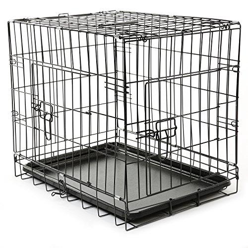 TRESKO Transportkäfig Hundebox für Hunde, Katzen, Welpen und Haustiere in verschiedenen Größen, Drahtkäfig, Hundekäfig, Auto-Transportbox, schwarz, mit 2 Türen, faltbar S (60cm x 42cm x 52cm)